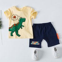 Ensemble de vêtements pour garçon enfants bébé fille garçon garçon Toddler Cartoon dinosaure à manches courtes t-shirt col rond Tops + tenues à carreaux shorts tenues