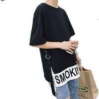 Heren T-shirts Mannen Harajuku Hip Hop Oversized T-shirt Lint Patchwork Fake Tweedelige Streetwear Side Split Casual Tees Tops