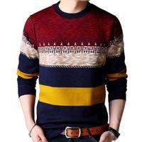 Erkek Kazakları GAAJ 2021 Marka Rahat Sonbahar Kış Sıcak Kazak Örme Çizgili Erkek Kazak Erkekler Elbise Kalın Erkek Jersey Giyim