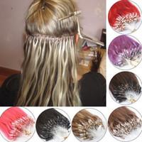 100pcs Real Hair ExtensionsEasy Loop / Micro Ring Perlen Frauen Haarverlängerungen 14-26 Zoll lange gerade
