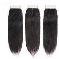 100% del pelo humano del encierro del cordón del bebé con 4X4 brasileña Cabello liso tres partes tapa del encierro del pelo del cordón libre / Medio / Natural Color Negro
