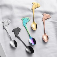 Dolphin Kid Spoon Coffee Cup Colher bonito brilhante colorido aço inoxidável 304 colher pequena New Arrival