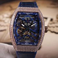 Yeni erkek Koleksiyonu Vanguard V 45 S6 SQT NR BR Hollow İskelet Mavi Dial Otomatik Erkek İzle Gül Altın Elmas Durumda Mavi Deri Saatler