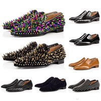 Novos Homens Quentes Red Bottom Dandelion Spikes Shoes Designer Greggo Orlato Flat Shoes Black Patent Leather Sude Velvet Loafer Party Shoes