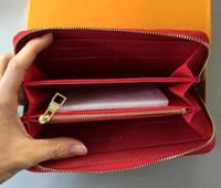Envio Grátis! Carteira de couro genuíno da embreagem do desenhador de moda com caixa laranja 60015 60017