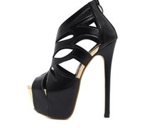Sexy Black Strappy Cut Out Platform High Heels Prom Shoes Ni...