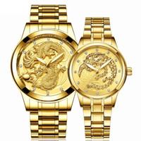 2 adet Moda Ejderha phoenix altın Saatler Erkekler Kadınlar Paslanmaz Çelik çiftler severler hediye kuvars saat için elmas izle