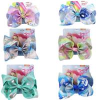 "8 ""Large Jojo Swia Sirena Ombre Ribbon Bows For Girls Hecho a mano Bow-Knot Rainbow Peink Clip para niños Accesorios para el cabello 6pcs"