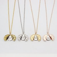 New Alloy Flower Necklace Can Open Sunflower Double Engraved...
