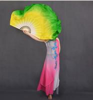 Main Danse Du Ventre Soie Bambou Soie Veils Danse Fans Longs Chinois Folk Danse Classique Fans Blanc Jaune Vert Gradient 41cm-86cm