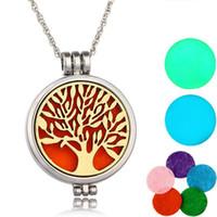 Locket Halskette Aromatherapie-Halskette mit Filz-Pads Edelstahlschmuck Muster Baum des Lebens Anhänger Öle Ätherische Diffuser Ketten