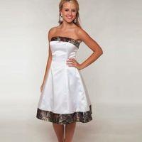 2019 Yeni Camo Düğün Kamuflaj Gelinlik Modelleri Custom Made Kısa Beyaz Kız Elbise Straplez Düğün Parti Abiye
