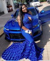Royal Blue Tallas especiales Vestidos para ocasiones especiales Vestidos de baile Nueva sirena sin mangas con flores de flores en rosa africana 3D Vestidos de noche