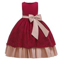 Alta calidad 2019 Big Bow Dresses para niños para niñas Ropa para niños vestido de noche vestido de la princesa vestido elegante 10 12 años