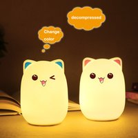 Colorful Silicone LED night light USB rechargeable cartoon p...