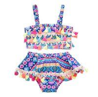 Bebek Kız Mayo Bohemia Püskül Mayo 2 adet Setleri Çocuk Mayo Geometrik Kızlar Bikini Yüzmek Giysileri Yaz Çocuk Giyim BY0822