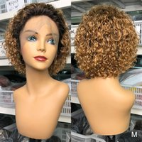 Ombre Blonde Courte Courby Dentelle Front Human Hair Perruques pour Femmes Noires Pixie Coupée Brésilien Remy Cheveux 150% 13x4 Dentelle Perruque de dentelle Prépurée