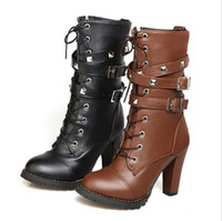 Hot Sale-Marken-Damen Schuhe Damenschuhe High Heels Plattform Buckle Zipper Nieten Sapatos Femininos Lace up Lederschuhe Größe 34-46