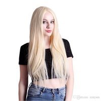 High Temperature Fiber Long Straight Blonde Synthetic Front ...