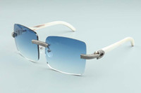 2020 óculos de sol novos dos homens generosa fatia de luxo full-diamante óculos T3524012-2 ilimitada cor natural branco quadro chifres