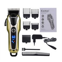 Kemei km-1990 Digital LCD Super Power professionale del regolatore dei capelli Salon Clipper Low Noise taglio Trimmer Limite Combs uomo Bambini 110-240V UE