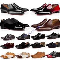 2020 Designer Herren Schuhe Müßiggänger Schwarz Rot Spike Lackleder Slip auf Kleid Hochzeits Wohnungen Bottoms Schuh Für Business Party Größe 39-47