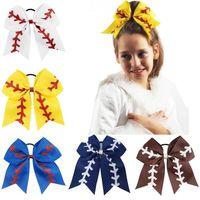 "7 ""Zespół Softball Baseball Cheer Cheer Bows Handmade Yellow Faborek i Red Glitter Diches z Ponytail Hair Hair do Cheerleading DHL FJ367"