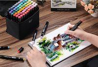 60 Colore Painting Art Segna penna di indicatore di alcool penna del fumetto dei graffiti Schizzo Doppio intitolato Arte Copic Markers Designers