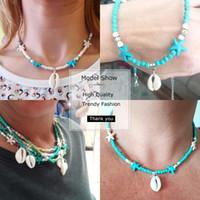 Color plateado Cowrie Shell Necklace Nature Shell Starfish Declaración Declaración Gargantilla Collar Bohemia Collar para Mujeres Moda Joyería de playa