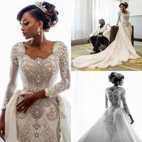 Luxe Dubaï arabe sirène robes de mariage avec de longues manches longues train Perles perles Robe de mariée Robes de mariée robe de Novia