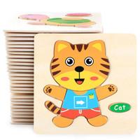10 шт. / лот горячее надувательство 3D головоломки деревянные игрушки для детей мультфильм животных автомобиль дерево головоломки Дети Детские ранние образовательные обучающие игрушки QM-E01