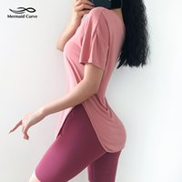 Mermaid Curve 2019 Atmungsaktives, schnelltrocknendes, kurzärmeliges O-Neck-Laufshirt Yoga-Trainings-T-Shirt Loose Fitness Sport Tees Top