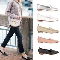 뾰족한 발가락 얕은 입 아파트 야외 패션 여성 댄스 파티 파티 신발 슬립 온 디자이너 여성 로퍼 진짜 가죽 아가씨 게으른 신발