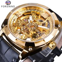 Forsining Golden Skeleton Clock Masculino Mens Mecânica Relógios de Pulso Top Marca Luxo Preto Genuíno Cinto Luminoso Mãos