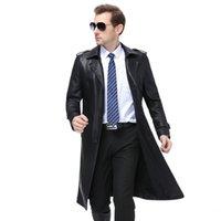 Мужская меховая FUX X-Long Fashion Gothic длинный пальто кожаная куртка S-5XL Jaque de Couro Masculino
