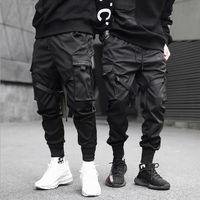 Schwarze Taschenkesselhose der Männer Hip Hop Street Track Hosen Herrenmode Jogger Track Pants S-3XL