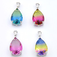 Bi colored Tourmaline Water Drop Pendants 925 Sterling Silver Necklace Vintage Rainbow For Women Jewelry Holiday gift Necklace Pendants