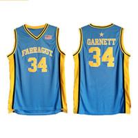 Homens Da Escola Secundária Kevin 34 Garnett Jersey Farragut Equipe Azul Basquete Camisas Uniforme Respirável Para Esporte Fãs de Alta Qualidade Garnett