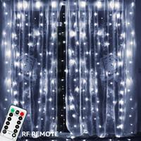3x3 m 300 LED Bakır Tel Icicle Perde Işıkları USB Uzaktan Peri Işıkları Ile Dize Garland Düğün Parti Için perde Dekor