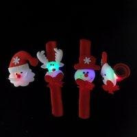 Led 크리스마스 때 리고 팔찌 크리스마스 선물 장난감 산타 클로스 때 리고 LED 빛 원형 팔찌 손목 장식 장식 무료 배송