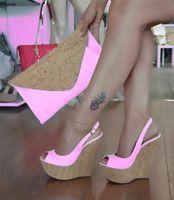Zapatos Plataforma Mujeres Rontic Nueva hecha a mano sandalias de cuñas de tacón alto sandalias peep toe del partido Rosa Blanco Negro Tamaño de las mujeres de Estados Unidos Plus 5-15