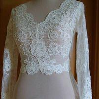 Vintage Düğün Ceketler Bolero Wrap Beyaz Fildişi Düğün Üst Dantel Taraklı Uzun Kollu Düğme Geri Artı Boyutu Gelin Aksesuarları