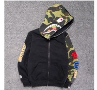 New Japanese Teenager Hip Hop Shark Head Giallo verde Camo Fight Hooded Jacket Uomo Donna Wild Cardigan Hoodie Jacket