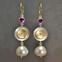 Dainty Vintage Two- Tone Disc Simulated- pearl Earrings for Wo...