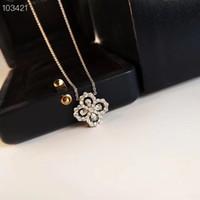 Люкс Классический дизайнер Sterling Silver Полный Циркон Четыре листа клевера цветок ожерелье для женщин Свадебные украшения