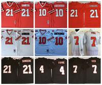 Vintage NCAA Mens 21 Deion Sanders Jerseys de futebol 4 Brett Favre 7 Michael Vick 10 Steve Bartkowski Bordado Logo Black Red Stitched Jersey M-XXXL