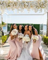 Dusty Pink Spaghetti Mermaid Bridesmaid Dresses Cheap Sweetheart Sheath Prom Evening Gown Long Maid Of Honor Party Dresses BM1568