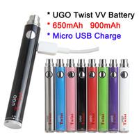 Nuovo logo personalizzato disponibile 650 900 mAh Batteria filo eCig 510 UGO Twist eVod VV Ego C Twist Vaper Pens Caricabatterie micro USB