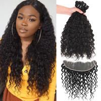 9A Remy Brazilian Hair Water Wave 3 Bundles With 13x4 Ear To...