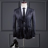 Mens Dress Suits Luxurious Velvet Striped Print Design Fine ...